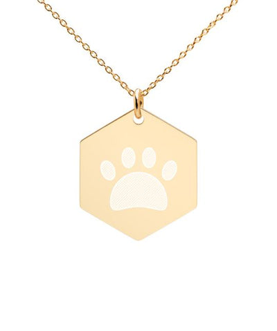 Coated Sterling Silver Hexagon Paw Necklace in Gold or Rose Gold Jewelry Printful Gold
