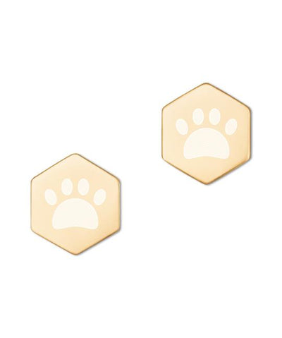 Coated Sterling Silver Hexagon Paw Stud Earrings in Gold or Rose Gold Jewelry Printful Gold