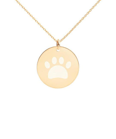 Coated Sterling Silver Round Paw Necklace Jewelry Printful 24K Gold coating