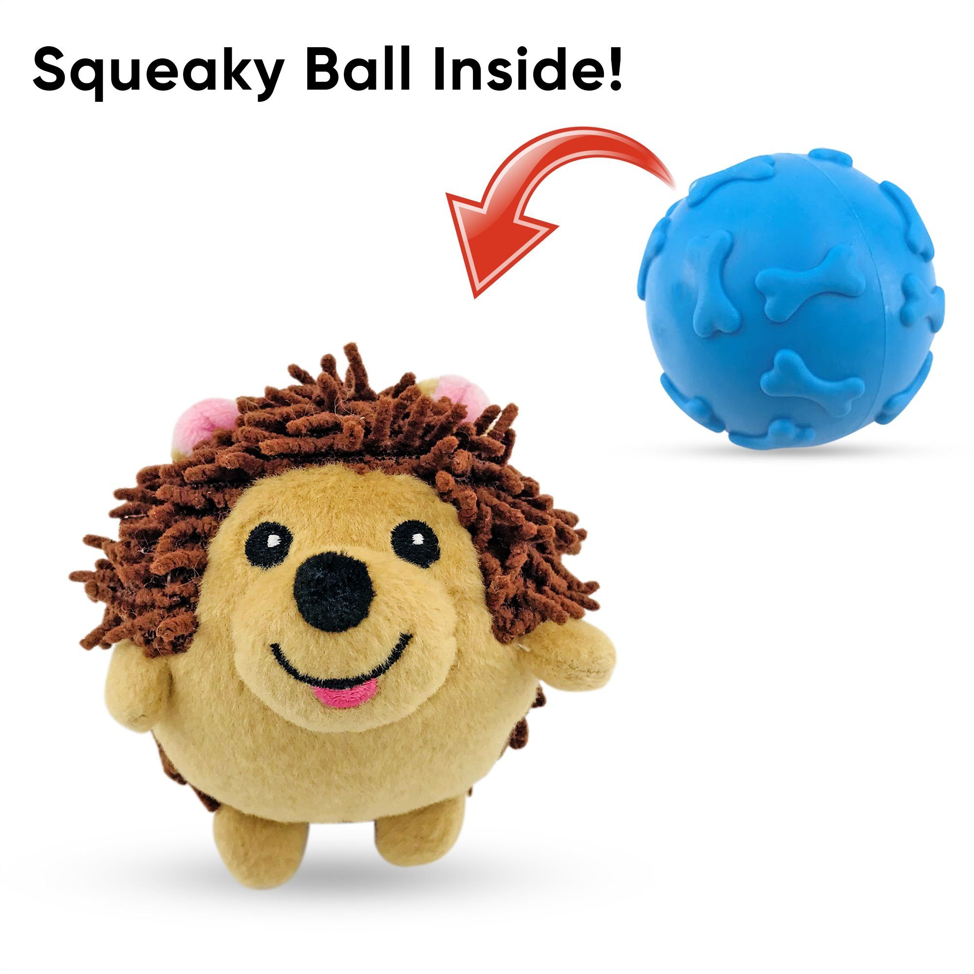 Dizzy Hedgehog Two-in-One Squeaker Ball Dog Toy Toys Dizzy Toys