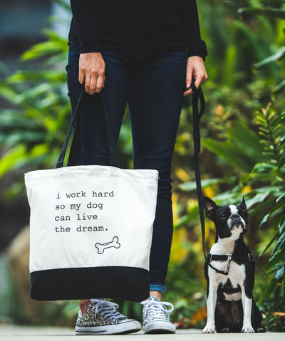 Dog 'I Work Hard' Tote Bag Tote Rover Store