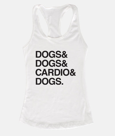 'Dogs & Cardio' Racerback Tank (2 colors) Apparel Printed Mint White S
