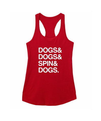 'Dogs & Spin' Racerback Tank (3 colors) Apparel Printed Mint Red S