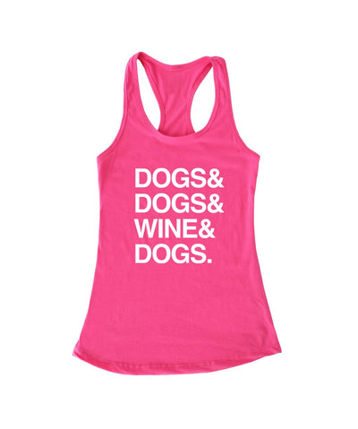 'Dogs & Wine' Racerback Tank (4 colors) Apparel Printed Mint Pink S