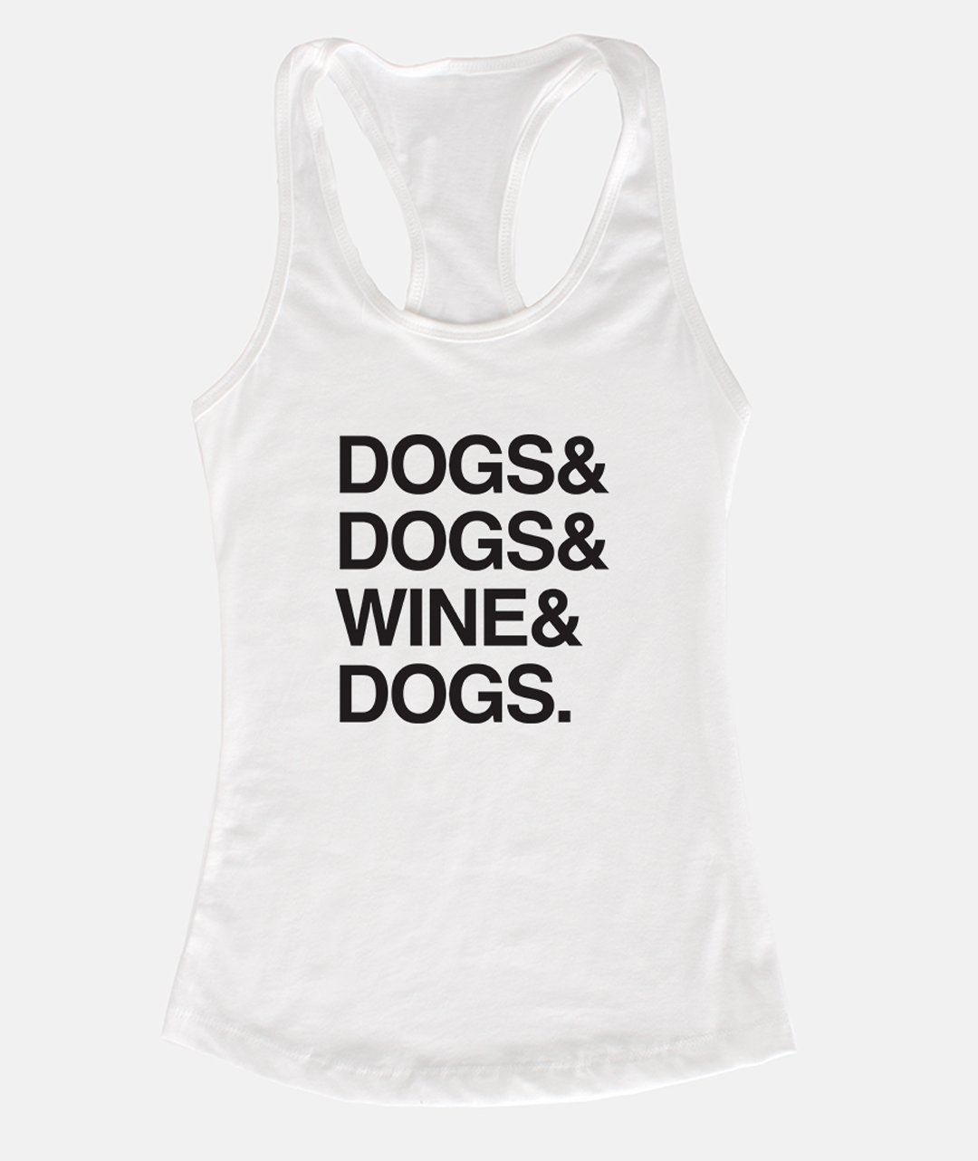 'Dogs & Wine' Racerback Tank (4 colors) Apparel Printed Mint White S