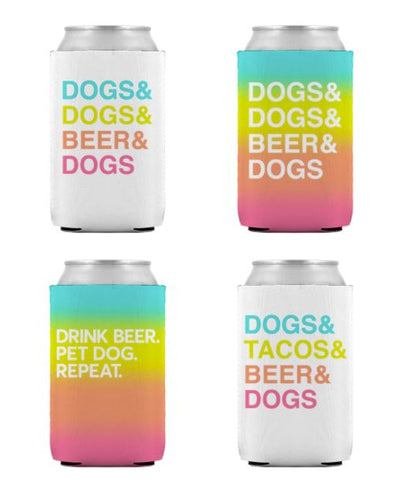 'Dogs&Beer' Can Coolers - Set of 4 Can Cooler Printed Mint