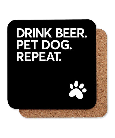 'Drink Beer. Pet Dog. Repeat' Coaster - Set of 4 Coasters Printed Mint