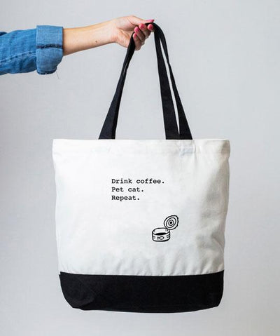 'Drink Coffee. Pet Cat. Repeat' Tote Bag Tote Rover Store