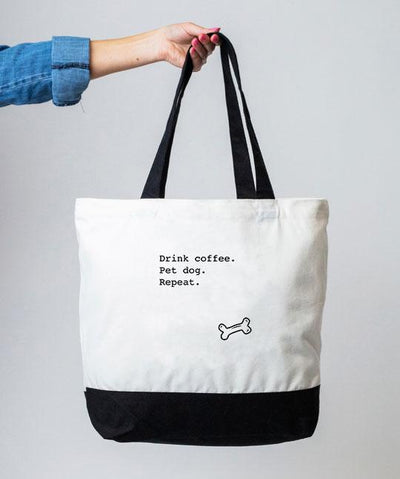 'Drink Coffee. Pet Dog. Repeat' Tote Bag Tote Rover Store