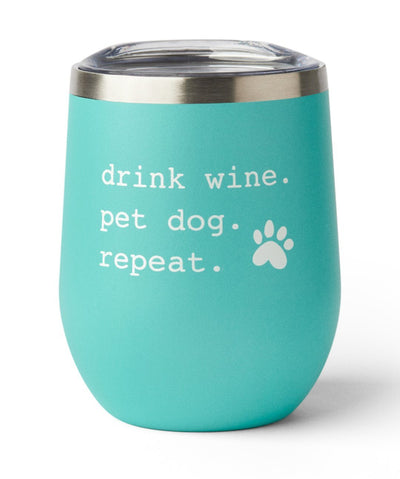 'Drink Wine. Pet Dog. Repeat.' Insulated Tumbler in Mint Tumbler Rover Single Tumbler Mint