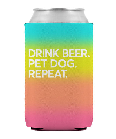 Gradient 'Drink Beer. Pet Dog. Repeat' Can Cooler Can Cooler Printed Mint
