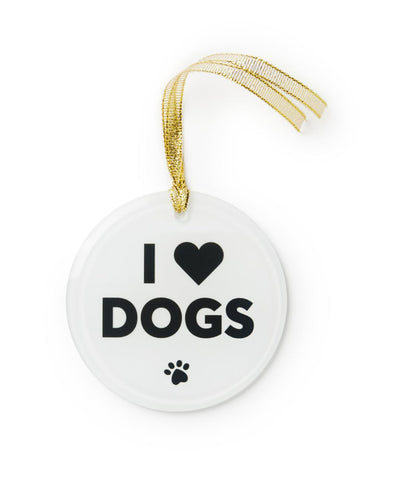 'I Love Dogs' Glass Ornament Ornament Printed Mint