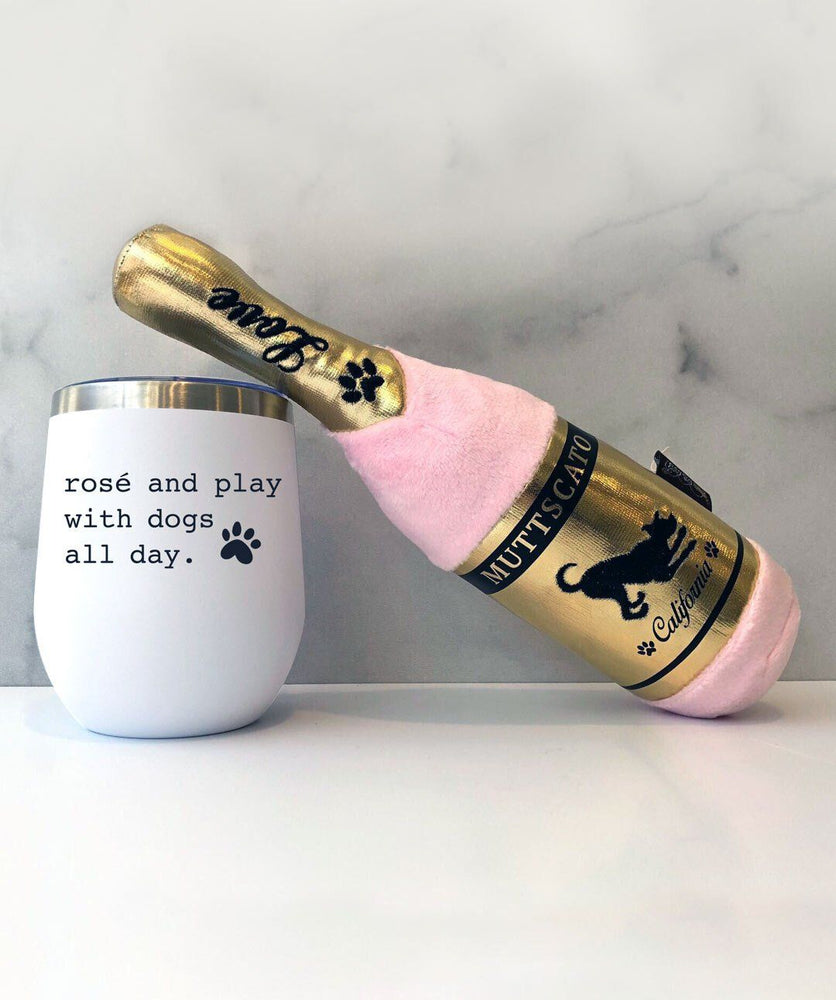 'Rosé and Play With Dogs' Insulated Tumbler & 'Muttscato' Plush Dog Toy
