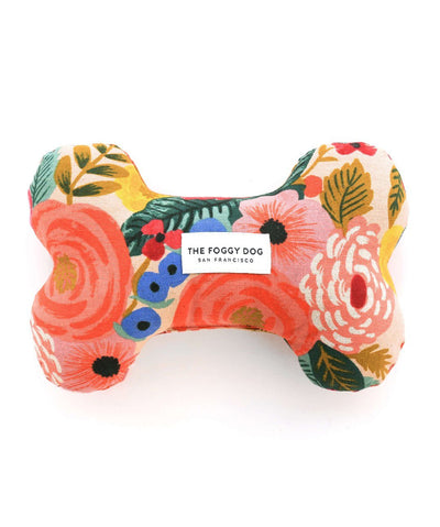 The Foggy Dog Painted Peonies Natural Dog Squeaky Toy Dog Toy Rover