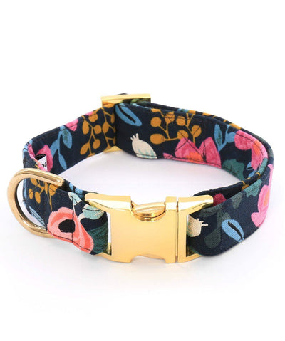 The Foggy Dog Rosa Floral Navy Dog Collar Collar Rover XS