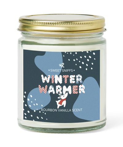 'Warm Winter' Bourbon Vanilla Scented Soy Candle Candle Printed Mint