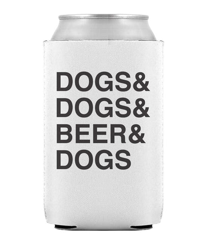 White & Black 'Dogs & Beer' Can Cooler Can Cooler Printed Mint