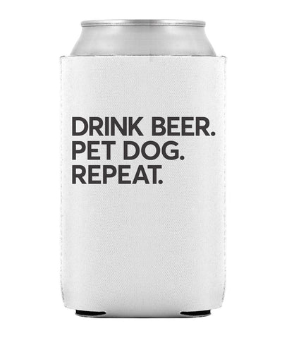 White & Black 'Drink Beer. Pet Dog. Repeat' Can Cooler Can Cooler Printed Mint