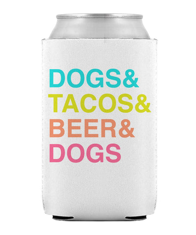White & Multicolor 'Dogs & Tacos' Can Cooler Can Cooler Printed Mint