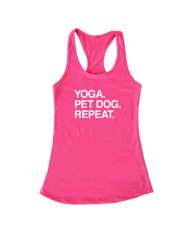'Yoga. Pet Dog. Repeat' Racerback Tank (4 colors) Apparel Printed Mint Pink S