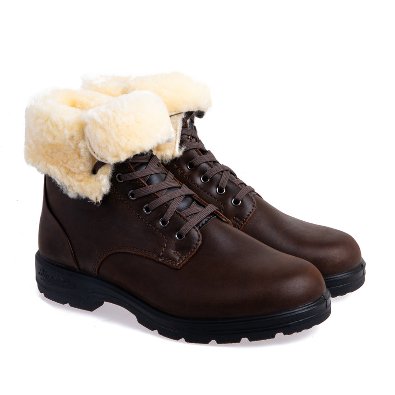 Women's 1461 Lace Up Boot with Fur Cuff - Antique Brown