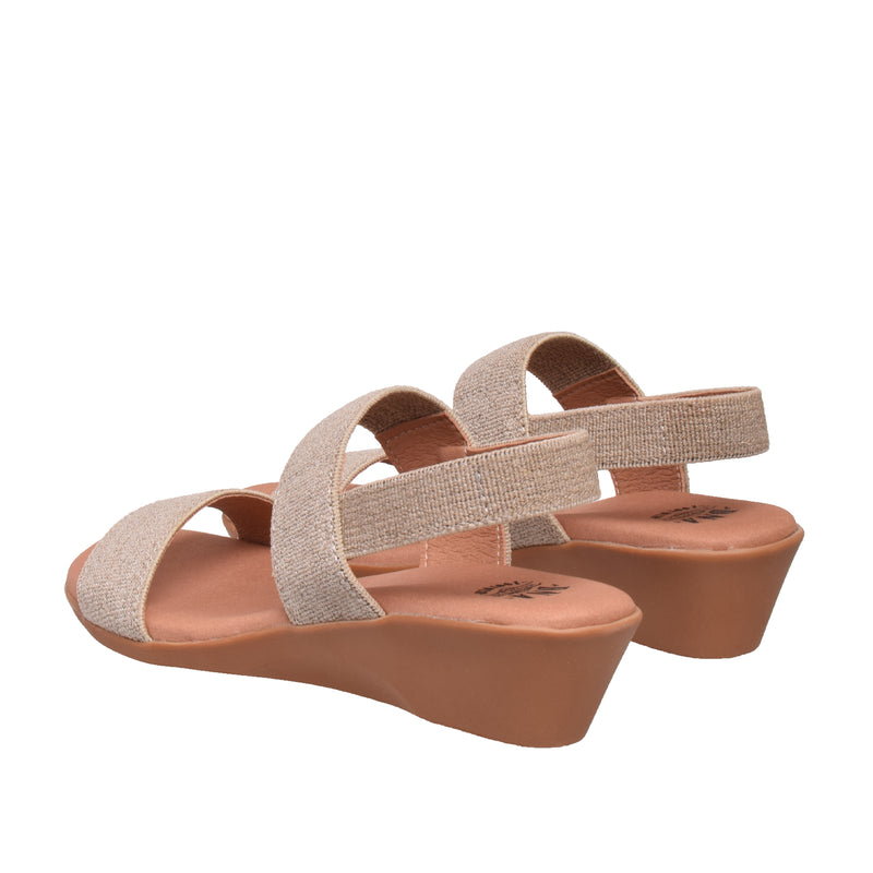 Ainslie Two Band Elastic Sandal - LInen - DNAFOOTWEAR