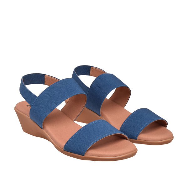 Ainslie Two Band Elastic Sandal - Navy