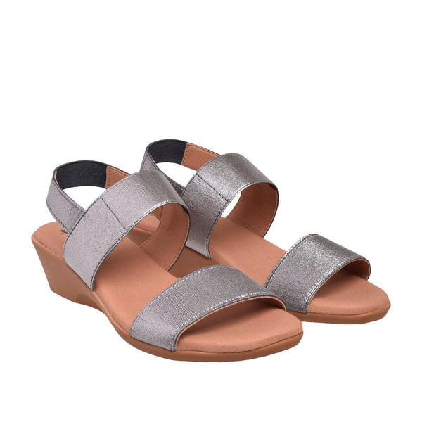 Ainslie Two Band Elastic Sandal - Pewter - DNAFOOTWEAR