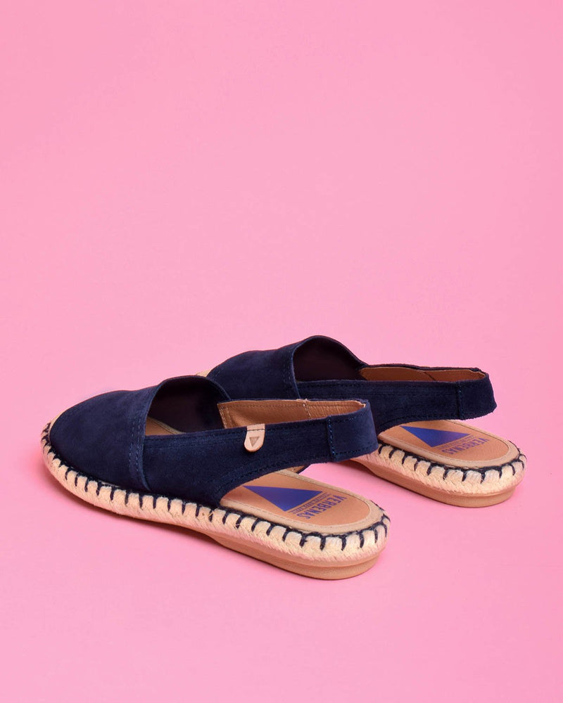 Aitana Suede Open Toe Slingback Sandals - Navy