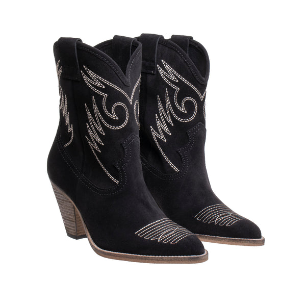 Alabama High Heel Western Boot - Black - DNAFOOTWEAR