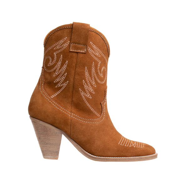Alabama High Heel Western Boot - Tan - DNAFOOTWEAR
