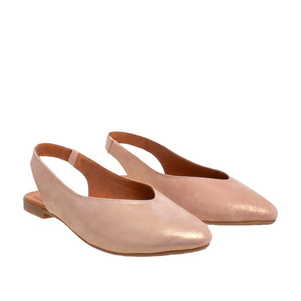 Amber Flat Metallic Leather Slingback - Rose Metallic
