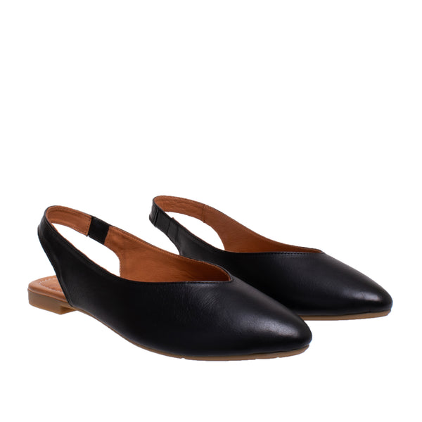 Amber Flat Leather Slingback - Black
