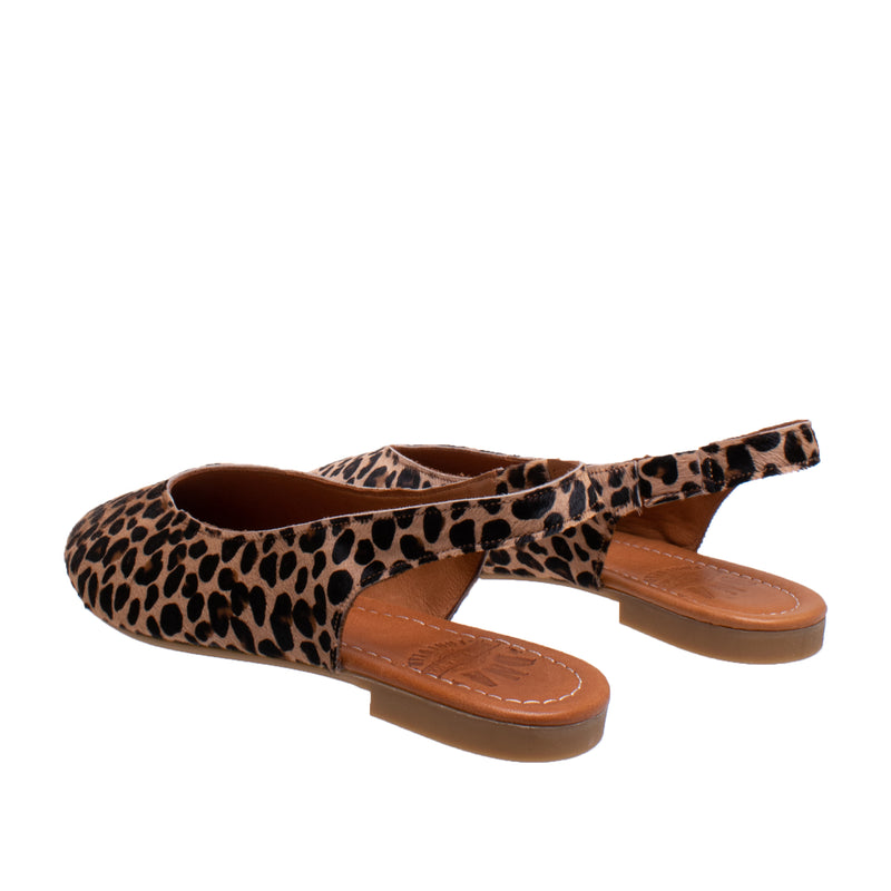 Amber Flat Haircalf Leather Slingback - Leopard