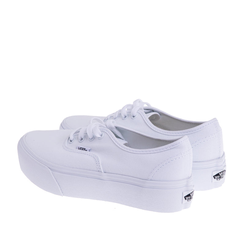 Kids Authentic Lace Up Sneaker - White/White