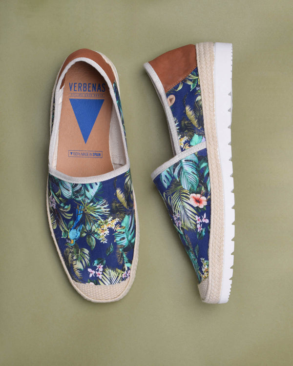 Barrie Printed Canvas Jute Wrapped Slip On Shoes - Navy
