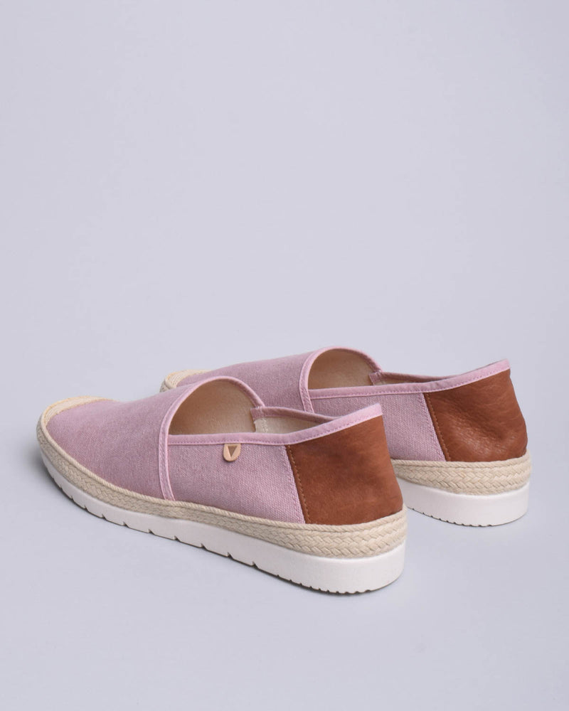 Barrie Washed Canvas Jute Wrapped Slip On Shoes - Pink