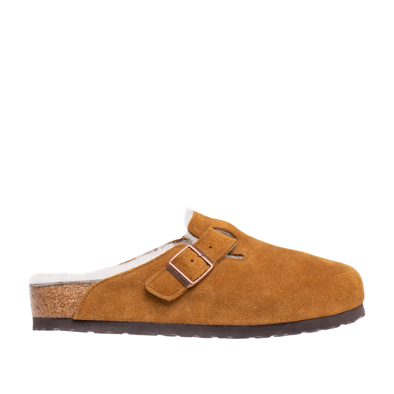Boston Shearling Suede Clog - Mink/Natural