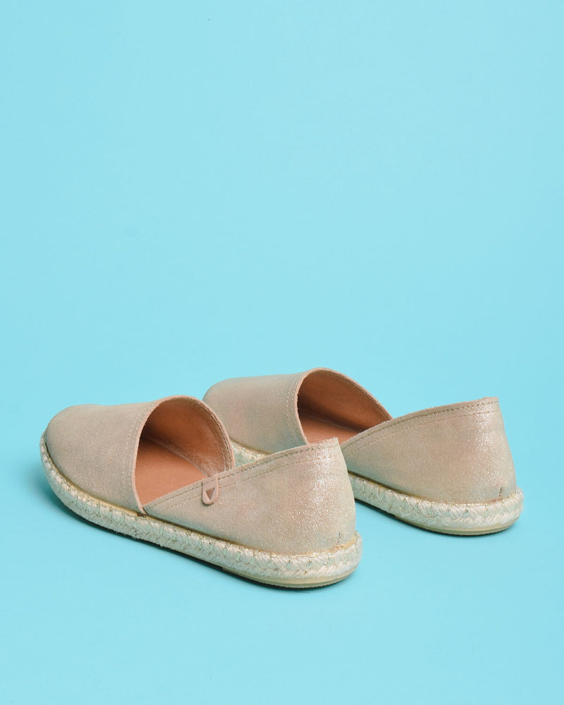Carmen Metallic Suede Slip On Espadrille - Gold
