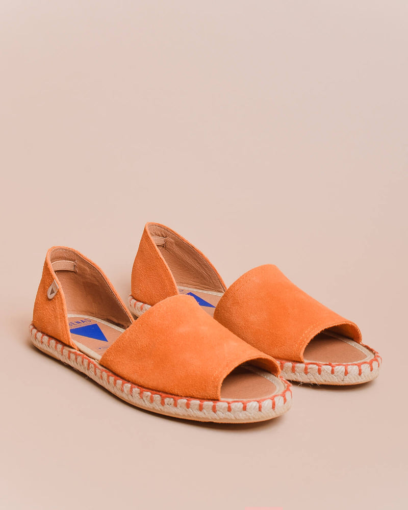Carol Suede Open Toe d'Orsay Espadrilles - Orange