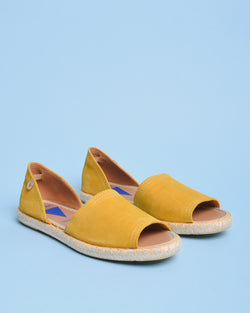 Carol Suede Open Toe d'Orsay Espadrilles - Yellow