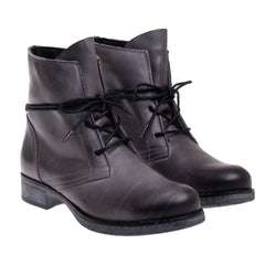 Cary Burnished Leather Bootie - Gray