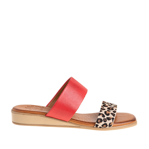 Women's Catherine Two Band Sandal - Leopard/Red