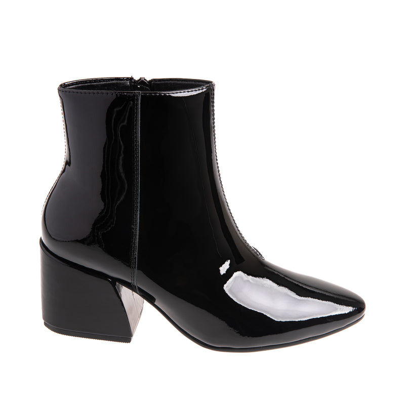 Celeste Pointy Toe Leather Bootie - Black Patent