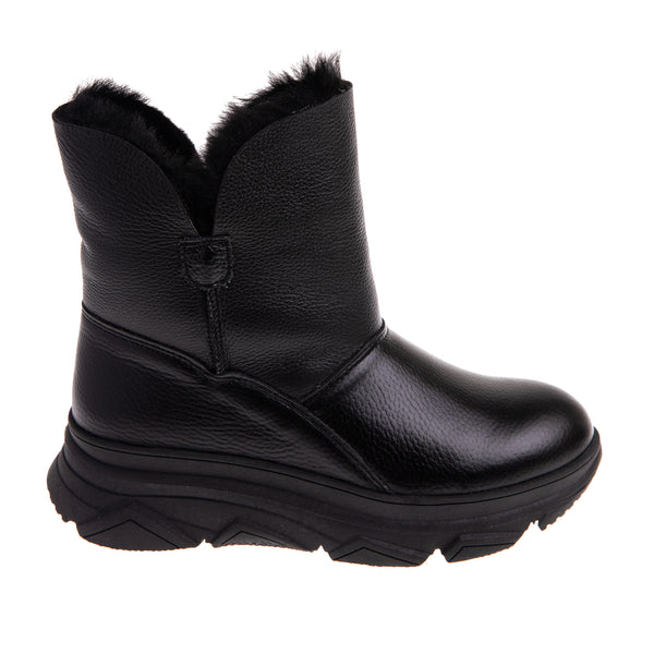 Women's Front Fur Lined Boot - Black