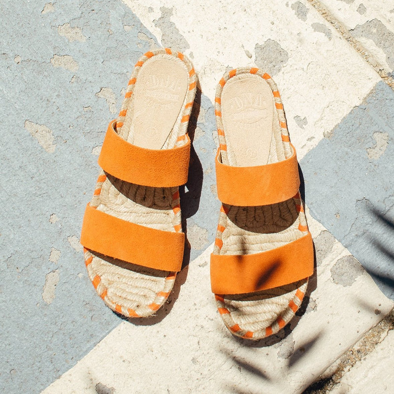 Dean Two Band Flat Espadrille - Orange - DNAFOOTWEAR