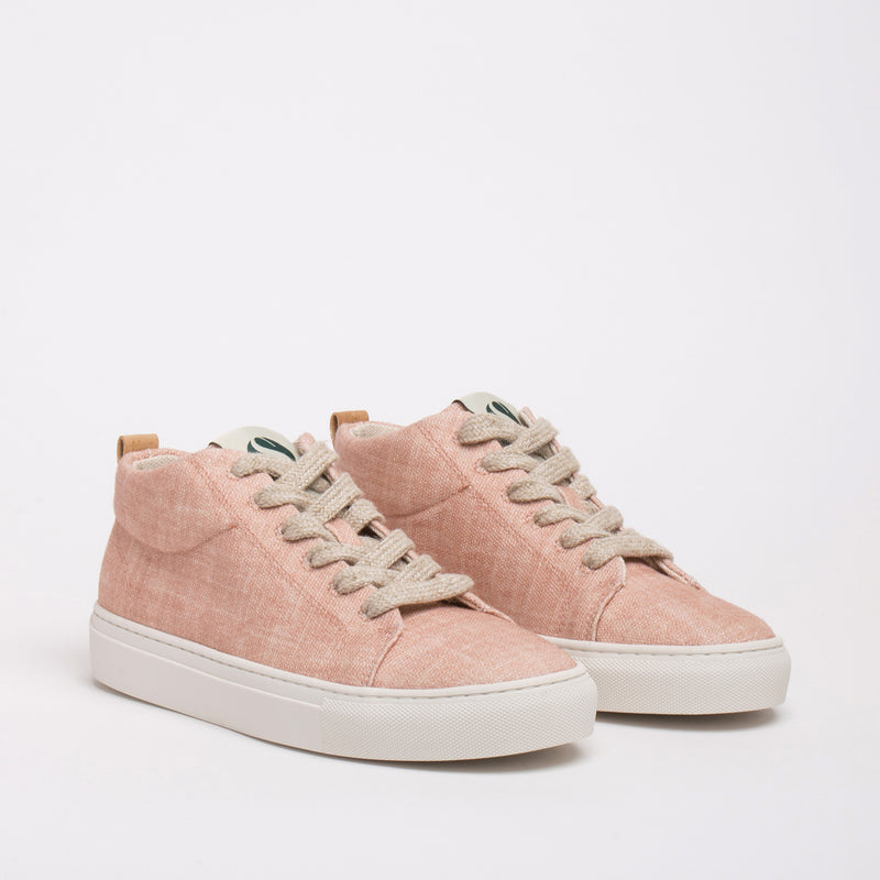 Laurel Sustainable Hi-top Sneaker - Peach - DNAFOOTWEAR