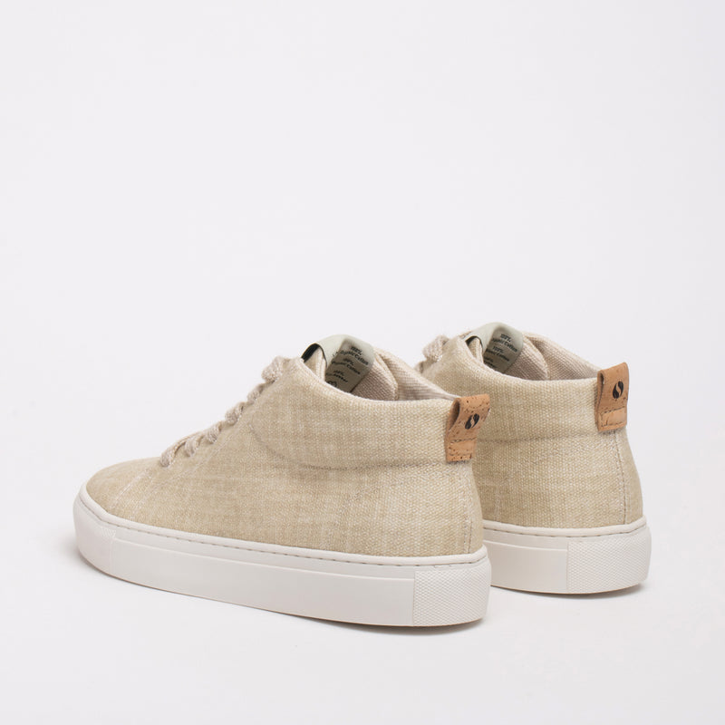 Laurel Sustainable Hi-top Sneaker - Sand - DNAFOOTWEAR
