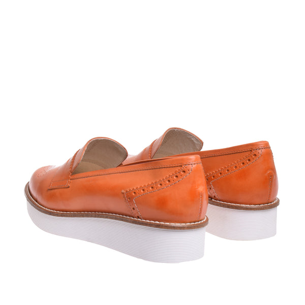 Linden Platform Penny Oxford - Orange - DNAFOOTWEAR