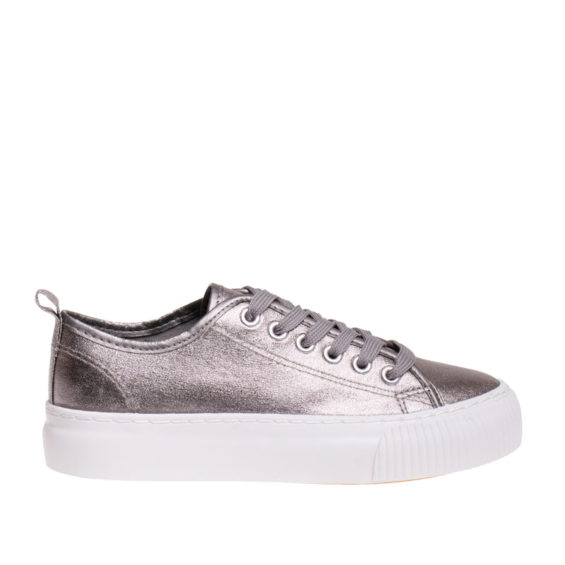 Madison Metallic Platform Sneaker - Silver